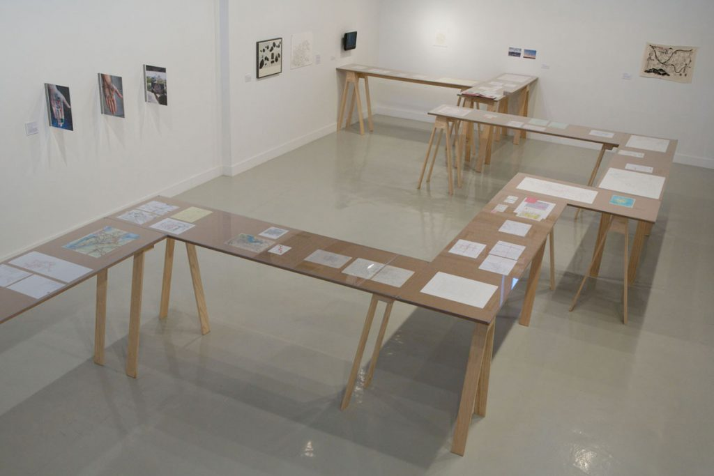 photograph of the exhibition nowhere at arcadia university art gallery