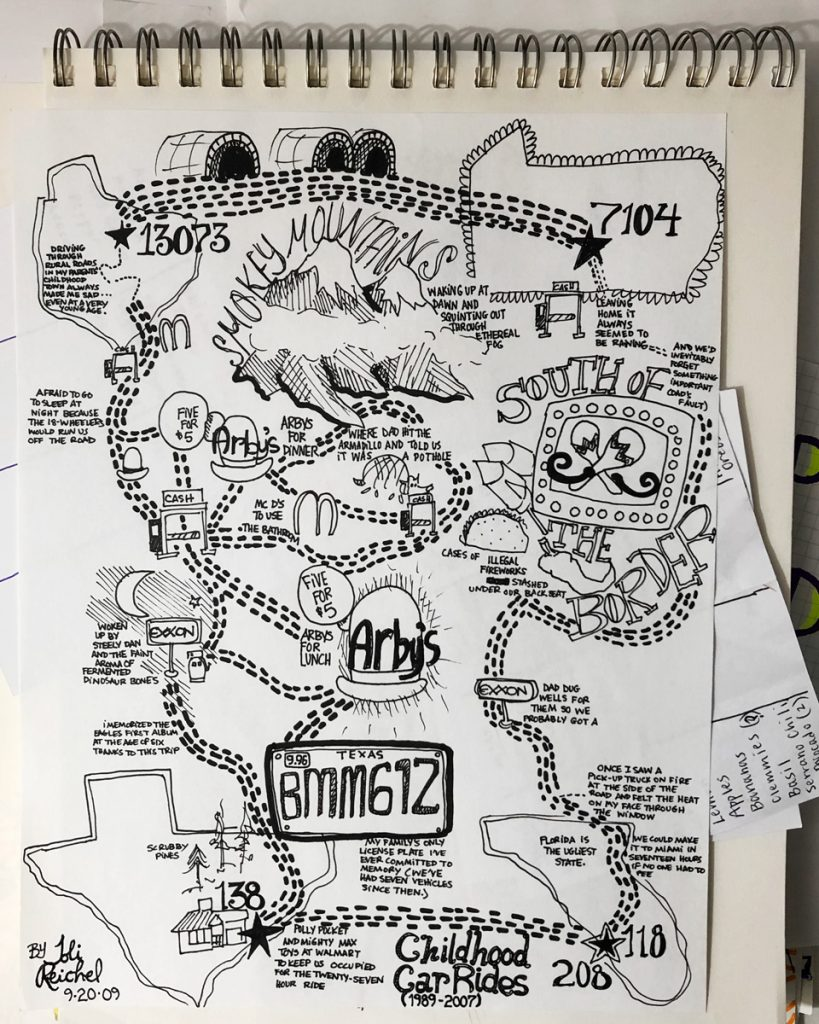 hand drawn map of a roadtrip through the united states